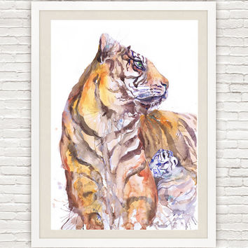 Tigress with cub, watercolor painting, wall decor, african animal, animal art, art print, wildlife, signs of the zodiac, lion art
