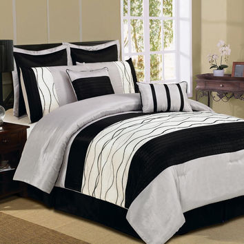 12pc Silver/Black GLD Luxury Size: Cal King Sheet Set Color: Navy