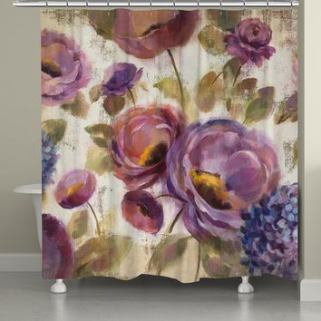 Blue and Purple Flower Song Shower Curtain
