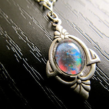 Opal Necklace Fire Opal Necklace Art Nouveau Necklace Sterling Silver Necklace 1920s Necklace- Priscilla's Necklace