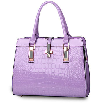 Women's High Quality Purple Messenger Bag Luxury Tote Crossbody Purse Leather Clutch Designer Handbag