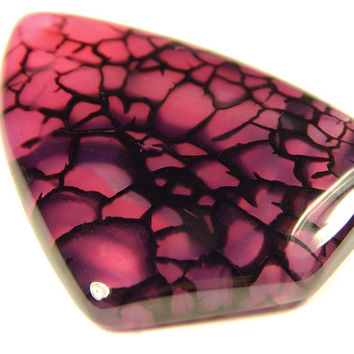 1 Pc - 51x41x7mm Dragon Veins Agate Pendant Bead - Focal Bead - Gemstone Bead - Jewelry Supplies