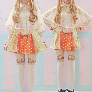 Japanese sweet lolita gauze shirt + bear T-shirt two-piece outfit