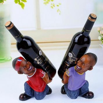 Kobe And LeBron Cosplay Kitchen Bar Display Whisky Beer Wine Bottle Rack Holder Home Decoration