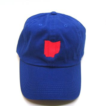 Ohio Hat - Classic Dad Hat - Royal and Red - All States Available