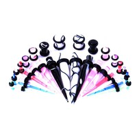 BodyJ4You Gauges Kit 16 Pairs Mixed Color Marbled Acrylic Tapers Plugs 14G 12 G10G 8G 6G 4G 2G 0G 32 Pieces