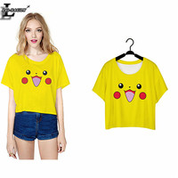 Hot! Pokemon Go Pikachu 3D Print T-Shirt Harajuku Kawaii Fashion Hipster Elastic T shirts Casual Slim Popular Women Clothes F965