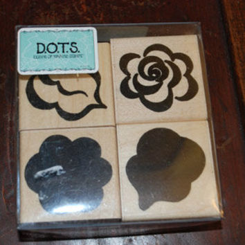 DOTS Stamp Set -  Rubber Stamp Set - 4 Piece Flowers and Leaves Set Scrapbooking Card Making Leaves, Spring, Silhouette, Flowers
