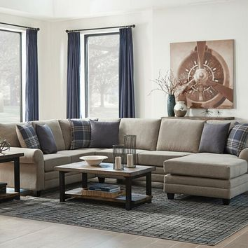 501139 3 pc skyler II collection wheat colored fabric upholstered transitional style sectional sofa with rounded arms