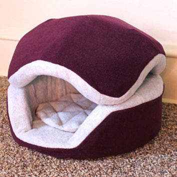 Washable Anti pill fleece cookie cat bed / removable top / many color combinations