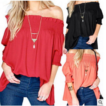 2016 Summer Women Tops Blouses Fashion Sexy Off Shoulder Half Sleeve Slash Neck  Blusas Plus Size Solid Loose Long Blouse X0148