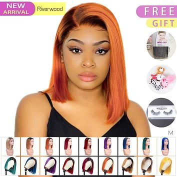 Lace Front Human Hair Short Bob Straight Wigs