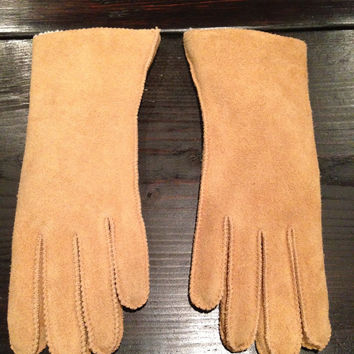 Vintage Womans Suede Gloves With Fur Lining