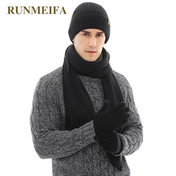 2018 New arrival Fall Winter Warmer for Men's Pure Color Hat&scarf&Touchscreen gloves Gifts in stock