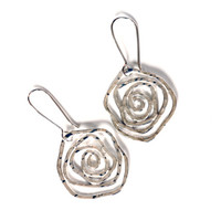 Swirl rose earrings by Canadian jewelry artist Melissa Pedersen using solid sterling silver , flat spiral rose jewelry with sparkly texture