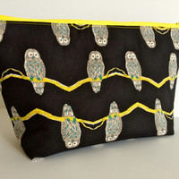 Extra Large Cosmetic Case Toiletry Bag Travel Bag Makeup Bag in Kokka Owl