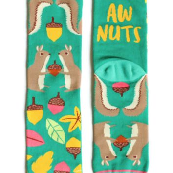 Aw Nuts Squirrel and Acorn Socks in Green