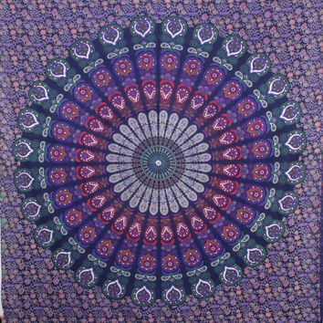 Hippie Mandala Purple Tapestry wall hanging boho bohemian Queen bedding throw bedspread ethnic home decor art