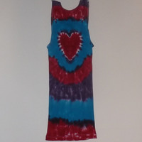 Tie Dye Heart Ribbed Tank Top - Choose Any Size (Adult or Youth) & Colors