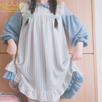 Vintage Alice Maid Style Lolita Doll Dress High Waist Puff Sleeve Peter Pan Collar OP Party Dress + Overall