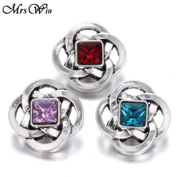 10pcs/lot New Snap Jewelry Rhinestone Chinese knot 18MM Snap Buttons Vintage Alloy Snap fit Snap Bracelet S679