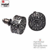 Jewelry Kay style NEW Men's Hip Hop Hematite XL Flat Round Micro Pave CZ Stud Earrings TE 529 HE