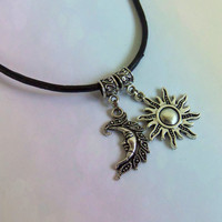 Moon and Sun choker necklace genuine leather cord