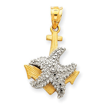 14k Two-Tone Solid Polished Diamond-cut Anchor with Starfish Pendant D1363