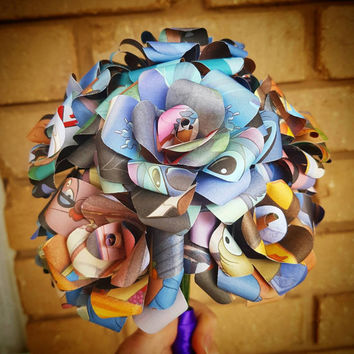 Lilo and Stitch Book Bouquet-Book lover gift-Book Bouquet-Book decor- Unique Gift- Bridal Bouquet- Paper Roses-Wedding-Disney