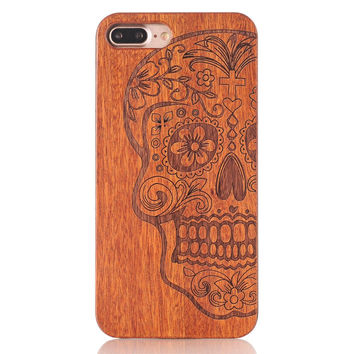 Luxury Unique Carved Pattern Real Wood cover for iPhone 7 Case Retro Bamboo Wooden Hard PC Back Case for iPhone 7 plus Cover