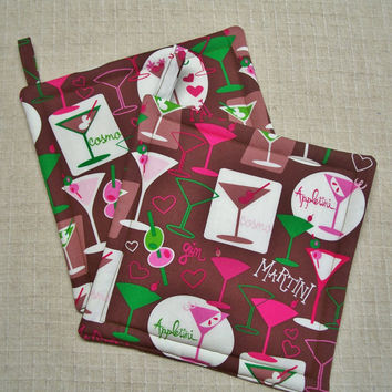 Martini Pot Holders - Trivets - Hot Pads - Set of 2 - Insulated - Brown, Pink, Martini