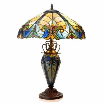 """LIAISONTiffany-style 3 Light Victorian Double Lit Table Lamp 18"""" Shade"""