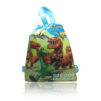 10pcs The Good Dinosaur Childrens Cartoon Drawstring Backpack Bags,Non-Woven Fabric Multipurpose Bags 34*27CM Kids Party Favors