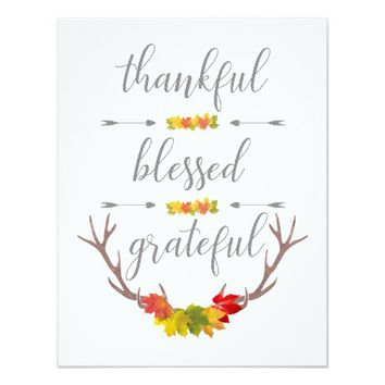 Thankful Blessed Grateful Fall Antler Thanksgiving Card