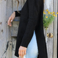 Black Side Slit Tunic Sweater