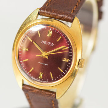 Gold plated men's watch East mechanical watch burgundy face gent's watch shockproof premium leather strap new
