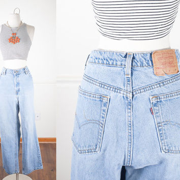 1980s Levi's Jeans / High Waisted Jeans / Vintage 80s Jeans / Distressed Denim / Soft Grunge Boyfriend Jeans / Relaxed Fit / Boot Cut Jeans