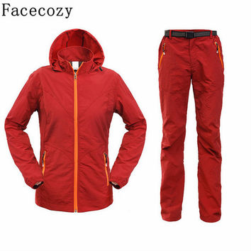 Facecozy Women Summer Outdoor Fishing UV Shirt+Pant/Set Quick Dry Camping&Hiking Shirts Long Sleeve Hunting Clothes Plus Size