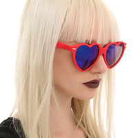 Red Soft Touch Heart Sunglasses