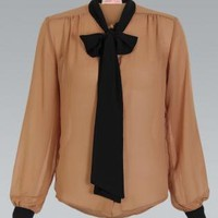 Oversized Button Top with Bow Collar