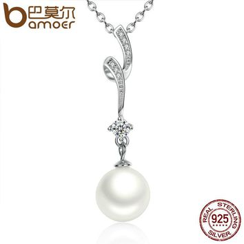 100% 925 Sterling Silver Shell Pearl Wave Chain Long Pendant Necklaces Wedding Jewelry Necklace Accessories SCN048