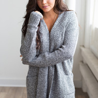 Hooded Pocket Sweater Cardigan - Heather Charcoal