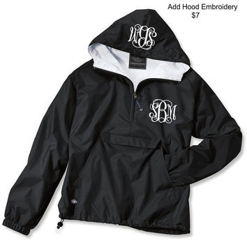 Black Monogrammed Personalized Half Zip Rain Jacket Pullover by Charles River Apparel