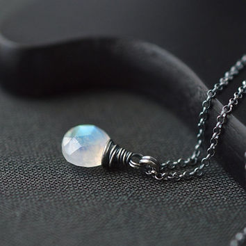 Small Moonstone Necklace / Oxidized Silver Moonstone Necklace / Rainbow Moonstone Pendant / Oxidized Sterling Silver Necklace