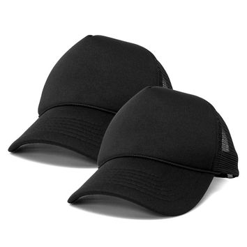 DALIX Solid Blank Trucker Hats Caps (2 for 1 Deal)