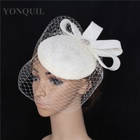 High quality 15 colors ivory fascinator with beauty birdcage veils sinamay fascinators hats wedding hair accessories party hats