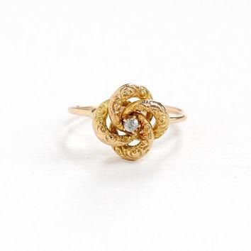 Antique 18k & 10k Yellow Gold Old European Cut Diamond Victorian Love Knot Ring - Size