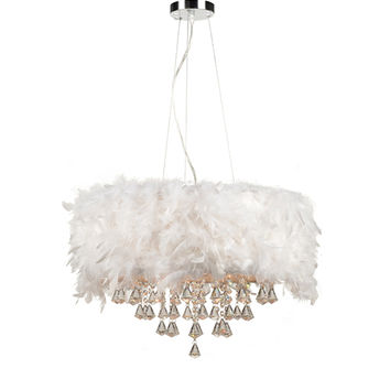 PLC Lighting 73049WHITE Peacock Polished Chrome Five-Light Drum Pendant with White Ostrich Feather Shade