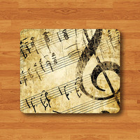 Old Music Sheet Piano Notes Mouse Pad VIntage G Clef Black Drawing Desk Deco Rubber MousePad Christmas Gift Computer Pad Personalized Gift