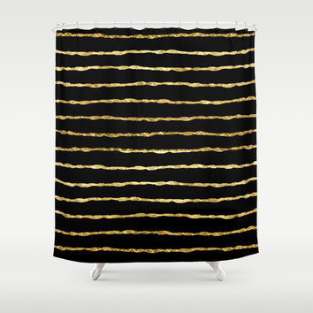 Golden stripes Shower Curtain by Haroulita | Society6
